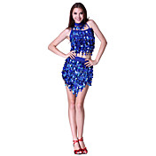 Dancewear Polyester Sequined Performance Latin Dance Outfits For Ladies More Colors