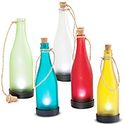 Solar Glass Bottle Light Amber Garden Decor Lamp
