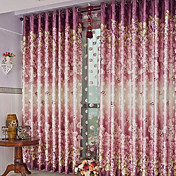 (One Panel) Traditional Print Floral Energy Saving Curtain