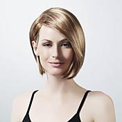 Capless Short Bob Blonde Synthetic Wig Long Side Bang