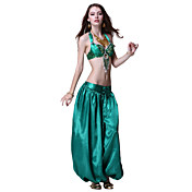 Dancewear Satin with Tassels and Sequins Belly Dance Performance Top and Skirt for Ladies More Colors