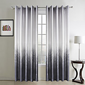 (Two Panels) Modern Grey Forest Print Polyester Energy Saving Curtains