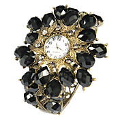 Charming Alloy with Black Crystal Quartz Dress Watch