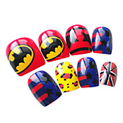 24pcs Full Cover PET Cartoon crylic French False Nail Art Tips