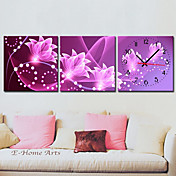 Modern Floral Canvas Wall Clock in 3pcs