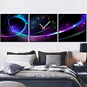Modern Style Abstract Wall Clock in Canvas 3pcs