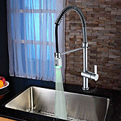 Contemporary Solid Brass Chrome Finish Kitchen Faucet with Color Changing LED Light