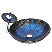 VT4211 Tempered Glass Vessel Round Sink With Waterfall Faucet and Mounting Ring