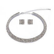 High Quality Czech Rhinestones Alloy Plated Wedding Necklace And Earrings Jewelry Set