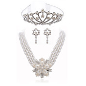 Gorgeous Clear Crystals With Imitation Pearls Jewelry Set,Including Necklace,Earrings And Tiara