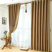 Classic Embossed Brown Blackout Curtains (Two Panels)