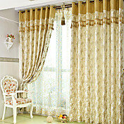 (Two Panels) Classic Jacquard Botanical Energy Saving Curtain