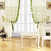 (One Panel) Country Green Print Energy Saving Curtain