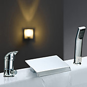 Two Handles Contemporary Widespread Waterfall Chrome Finish Tub Faucet With Handshower