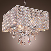 Modern 4 - Light Pendant Lights with Crystal Drops in Square