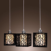 Pendant Light with 3 Lights in Acrylic Cubic Shade(Glass Inner Shade)