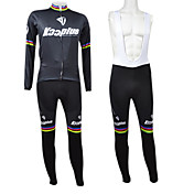 Kooplus Men's Black Rainbow Series Fleece Long Sleeve Suits with BIB Tights