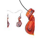 Ribbon Pattern Coloured Glaze Earrings Necklace Jewelry Set