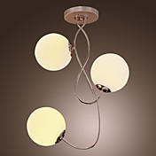 Contemporary Glass Chandelier with 3 lights - Ball Shape Design (Chrome Finish)