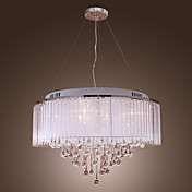 White Crystal Drop 8-Light Pendant Light with Fabric Lamp