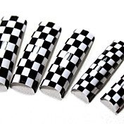 70PCS White and Black Crossed French Plastic Nail Art Tips