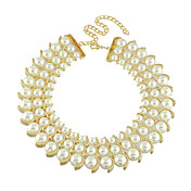Elegant Alloy With Rhinestone And Imitation Pearl Women's Necklace(More Colors)