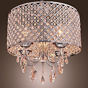 Modern 4 - Light Pendant Lights with Crystal Drops in Round