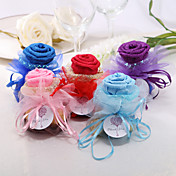 Personalized Beautiful Organza Favors Bags With Rose Top - Set of 24 (More Colors)