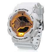 Waterproof Sporty Double Movement Digital Stop Watch with Night Light - White