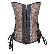 Charming Leatherette With Jacquard Strapless Front Busk Closure Corsets Shapewear