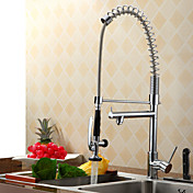 Contemporary Solid Brass Spring Kitchen Faucet - Chrome Finish