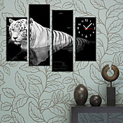 Modern Style Tiger Wall Clock in Canvas 4pcs