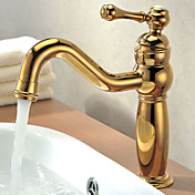 Solid Brass Single Handle Contemporary Ti-PVD Finish Bathroom Sink Faucet