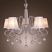 Modern Crystal Chandeliers with 5 Lights White