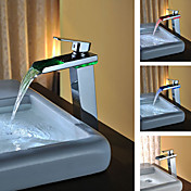 Contemporary Solid Brass Single Handle LED Waterfall Bathroom Sink Faucet(Chrome Finish)Tall