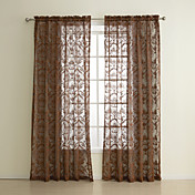 (One Panel) Classic Geometric Brown Sheer Curtain