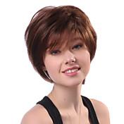 Capless Short Brown Wavy 100% Human Hair Wigs