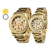 Pair of Steel Analog Quartz Couple's Watches (Gold)