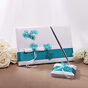 Wedding Guest Book And Pen Set With Acrylic Flowers (More Colors)