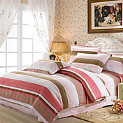 Colorful Stripe Full / Queen 4-Piece Duvet Cover Set