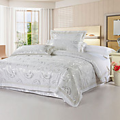 4-Piece Whisper 250TC Jacquard Duvet Cover Set