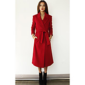 Women's Tailored Lapel Long Coat with Belt
