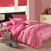 4-Piece Modern Big White Dots Pink Velvet Full Duvet Cover Set