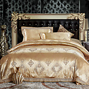 4-Piece 300TC Golden Jacquard Full/Queen Duvet Cover Set