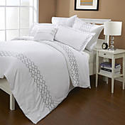 300TC Diamond Embroidery Cotton Twin / Queen / King 3-Piece Duvet Cover Set