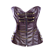 Fashion Faux Leather Strapless Front Zipper Closure Corsets Shapewear