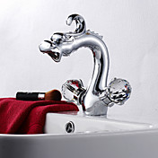 Dragon Head Style Chrome Finish Two Crystal Handle Centerset Bathroom Sink Faucet