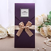 Personalized Purple Wedding Invitation With Golden Bow (Set of 50)
