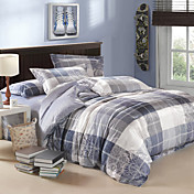 4-Piece Modern Grey Plaid Velvet Full Duvet Cover Set