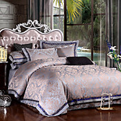 300TC Gray Jacquard Full / Queen 4-Piece Duvet Cover Set